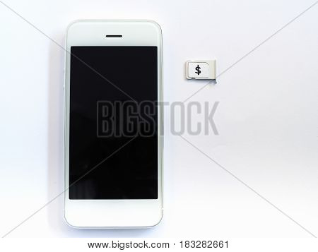White Smart Phone, Sim Card Tray And Small Paper Simulated As A Sim Card On White Background