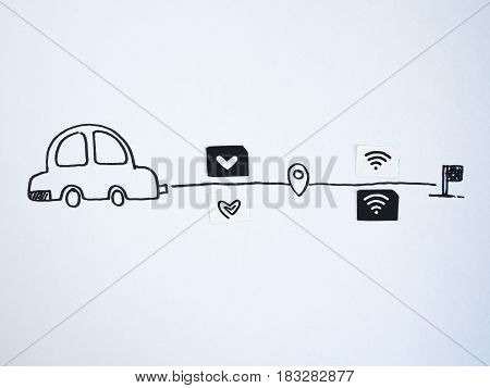 A drawing car and small paper simulated as a SIM card. Dollar and wifi symbol on paper sim cards