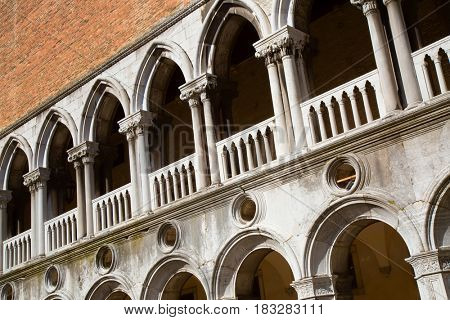 Facade of the Doge palace in Venice, Italy