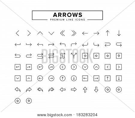 Arrows line icon set.  Vector Illustration design collection