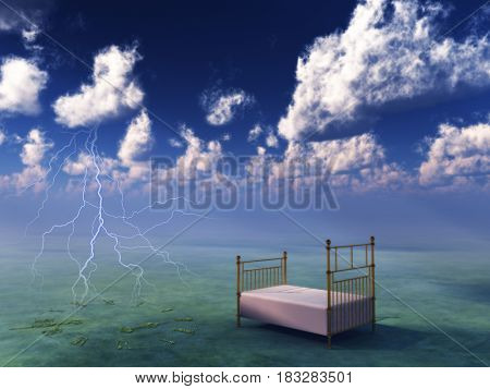 Bed in surreal peaceful landscape 3D rendering
