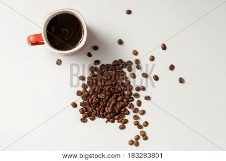 Fragrant coffee and beans coffee. Top view.