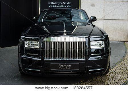 BERLIN - JUNE 14 2015: Luxury car Rolls-Royce Phantom Drophead Coupe (since 2007). The Classic Days on Kurfuerstendamm.