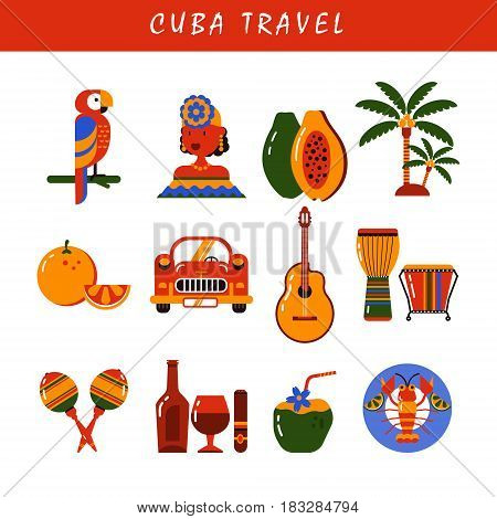 Cuba. Icons set in flat style of Cuban culture and food