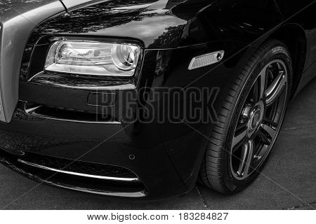 BERLIN - JUNE 14 2015: Fragment of the full-size luxury car Rolls-Royce Wraith (since 2013). Black and white. The Classic Days on Kurfuerstendamm.