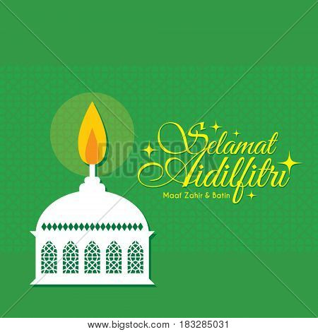 Vector muslim oil lamp- pelita with islamic pattern background. Selamat Aidilfitri greeting card. (caption: Fasting Day of Celebration, I seek forgiveness (from you) physically and spiritually)
