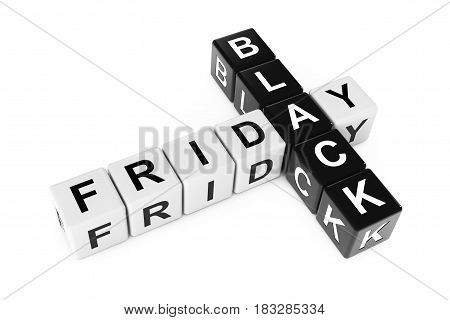 Black Friday Concept. Sign as Crossword Blocks on a white background. 3d Rendering.