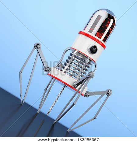 Blood Nano Robot with Camera Claws and Needle on a blue background. 3d Rendering.