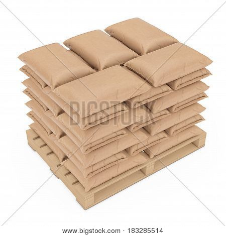 Stack of Blank Paper Sack Bag over Wooden Pallet on a white background. 3d Rendering.