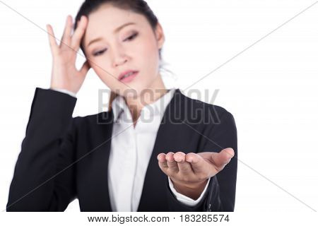 Worried Business Woman Open Hand Holding Something Isolated On White