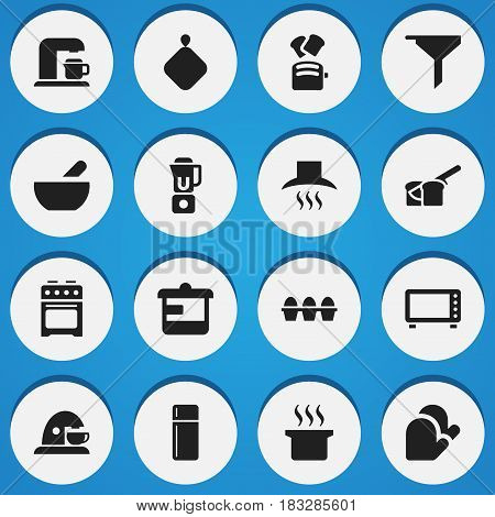 Set Of 16 Editable Food Icons. Includes Symbols Such As Filtering, Soup Pot, Stove And More. Can Be Used For Web, Mobile, UI And Infographic Design.