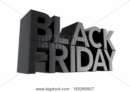 Black Friday Sign on a white background. 3d Rendering.