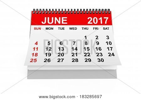 2017 year calendar. June calendar on a white background. 3d rendering