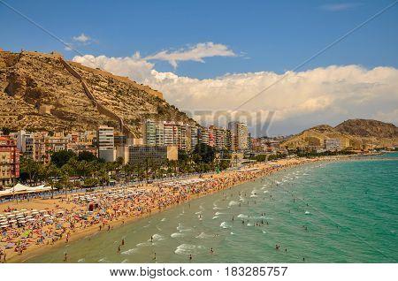 Beautiful Panoramic View Of  Alicante Postiguet Beach And Castle Santa Barbara In Spain Valencian Co