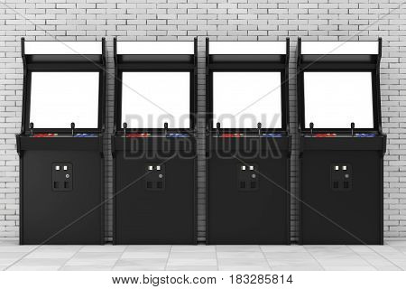 Row of Gaming Arcade Machines with Blank Screen for Your Design in front of brick wall. 3d Rendering.