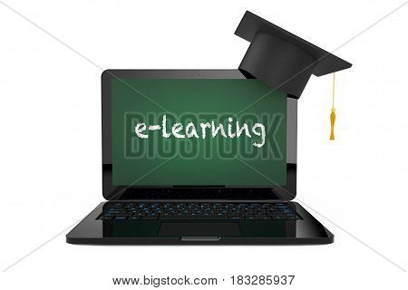 Online Education Concept. Graduation Hat over Laptop with Blackboard Screen and E-Learning Sign on a white background. 3d Rendering.