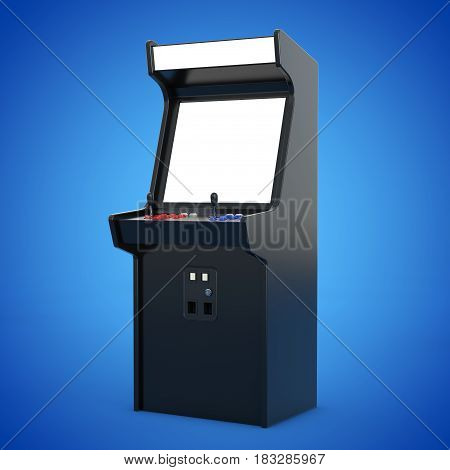 Gaming Arcade Machine with Blank Screen for Your Design on a blue background. 3d Rendering.