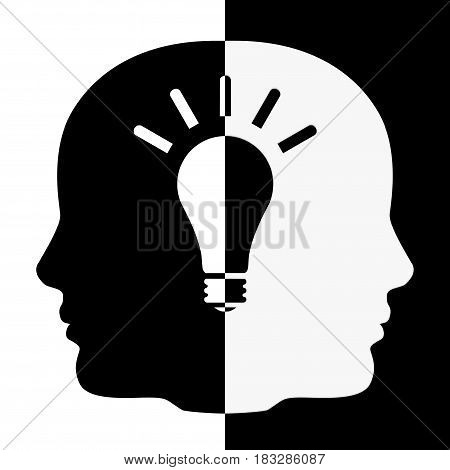 Black and White Human Head Shape with Idea Bulb extreme closeup. 3d Rendering.