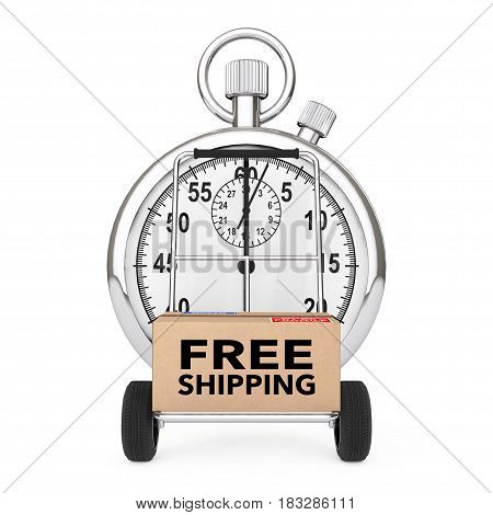 Logistic Concept. Stopwatch near Box with Free Shipping Sign over Cart on a white background. 3d Rendering.