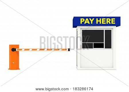 Road Car Barrier and Parking Zone Booth with Pay Here Sign on a white background. 3d Rendering.
