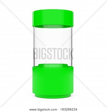 Green Empty Glass Shop Showcase Cylinder on a white background. 3d Rendering.