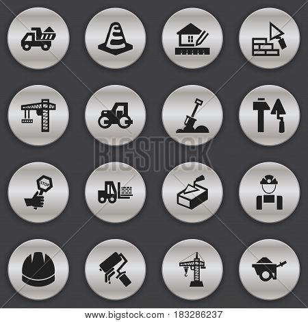 Set Of 16 Editable Structure Icons. Includes Symbols Such As Facing, Camion, Construction Tools And More. Can Be Used For Web, Mobile, UI And Infographic Design.