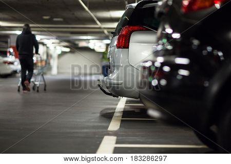 Underground parking/garage (shallow DOF; color toned image)