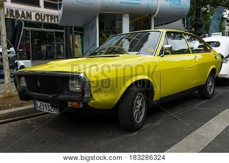 BERLIN - JUNE 14 2015: Mid-size sports car Renault 15 TL 1974. The Classic Days on Kurfuerstendamm.