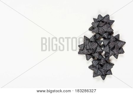 Black Holiday Bows On White Background