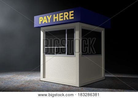 Parking Zone Booth with Pay Here Sign in the volumetric light on a black background. 3d Rendering.