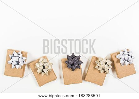 Holiday Wrapped Gifts With Bows