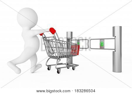 3d Person with Shopping Cart in front of Shop Turnstile Entrance Tourniquet with Arrow Sign on a white background. 3d Rendering.