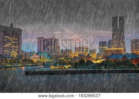 falling rain in Minato Mirai at Yokohama city Japan