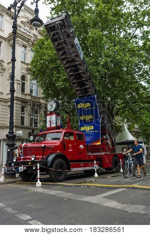 BERLIN - JUNE 14 2015: Fire engine with turntable ladder Krupp Tiger 1956. The Classic Days on Kurfuerstendamm.