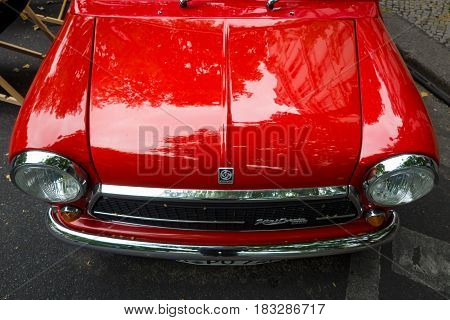 BERLIN - JUNE 14 2015: Fragment of a compact car Innocenti Mini Cooper 1300. The Classic Days on Kurfuerstendamm.