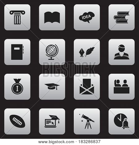 Set Of 16 Editable School Icons. Includes Symbols Such As First Place, Graduation Hat, Mind And More. Can Be Used For Web, Mobile, UI And Infographic Design.