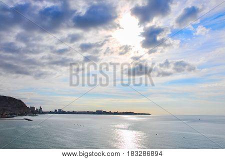 Beautiful Sunrise View Of Alicante Postiguet Beach And Castle Santa Barbara In Spain Valencian Commu