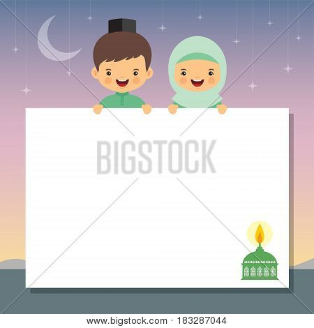 Hari Raya vector illustration with muslim oil lamp. Muslim kids holding white paper and beautiful starry night as background. Hari raya message board.