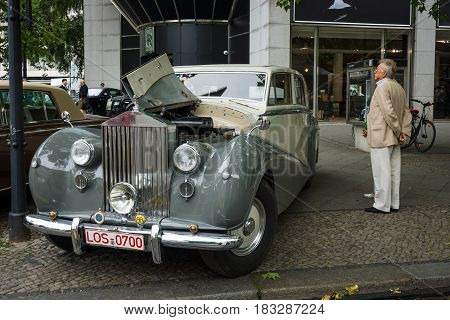 BERLIN - JUNE 14 2015: Full-size luxury car Rolls-Royce Silver Wraith 1951. The Classic Days on Kurfuerstendamm.