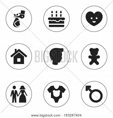 Set Of 9 Editable Family Icons. Includes Symbols Such As Toy, Man Emblem, Home And More. Can Be Used For Web, Mobile, UI And Infographic Design.