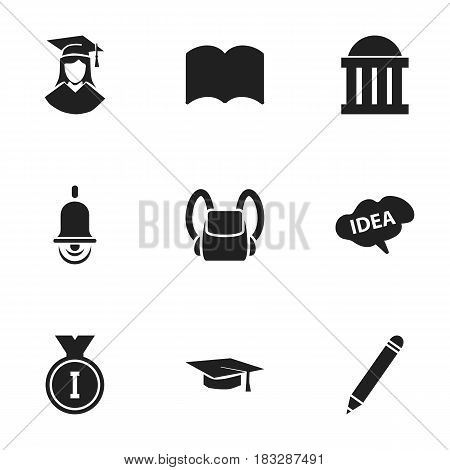 Set Of 9 Editable Science Icons. Includes Symbols Such As Alarm Bell, Mind, First Place And More. Can Be Used For Web, Mobile, UI And Infographic Design.