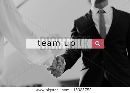 Team up Building Collaboration Support word