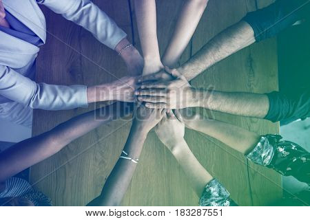 Human hands together holding together