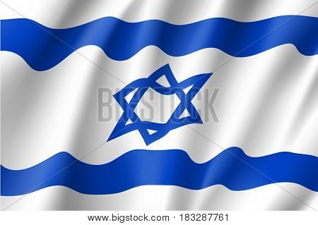 Israel national flag, fluttering in the wind, educational and political concept, realistic vector illustration