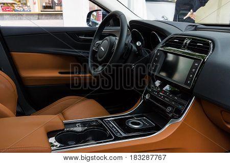 BERLIN - JUNE 14 2015: Cabin of the compact executive car Jaguar XE 20D (since 2015). The Classic Days on Kurfuerstendamm.