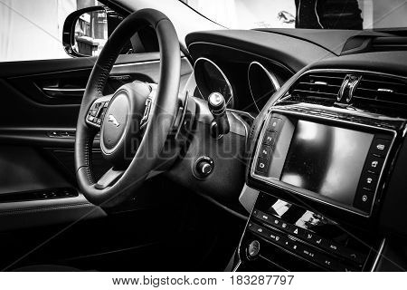 BERLIN - JUNE 14 2015: Cabin of the compact executive car Jaguar XE 20D (since 2015). Black and white. The Classic Days on Kurfuerstendamm.