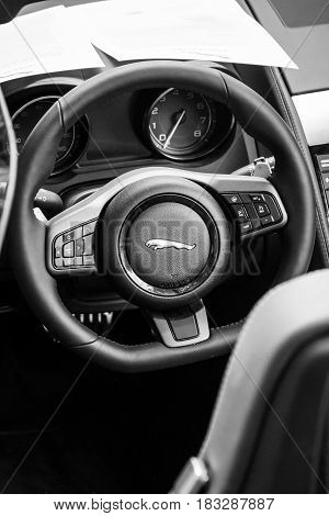 BERLIN - JUNE 14 2015: Cabin of the sports car Jaguar F-Type V8S Convertible (since 2013). Black and white. The Classic Days on Kurfuerstendamm.