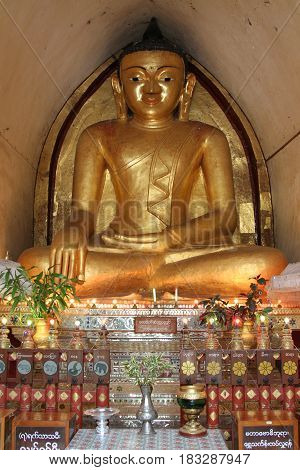 Buddha Statue At Ancient Temple In Bagan, Myanmar