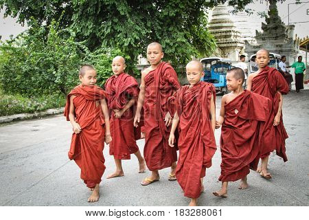 Young Buddhist Novices In Bagan, Myanmar