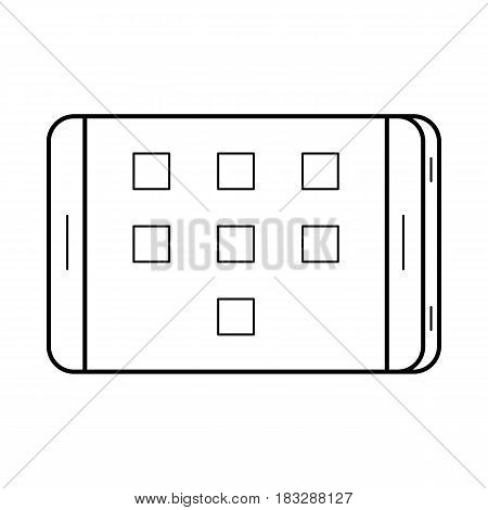 Tablet line art, simple gadget icon for web application, outline vector pictogram isolated on a white background, modern mobile computer with a touchscreen